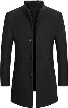 冬のウールメンズ厚手のコートスリムフィットスタンドカラーファッションウールブレンドアウタージャケットスマートカジュアルトレンチ