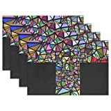 DNOVING Abstract Art Catholic Christ Christian Chromatic Placemats Set Of 4 Heat Insulation Stain Resistant For Dining Table Durable Non-slip Kitchen Table Place Mats