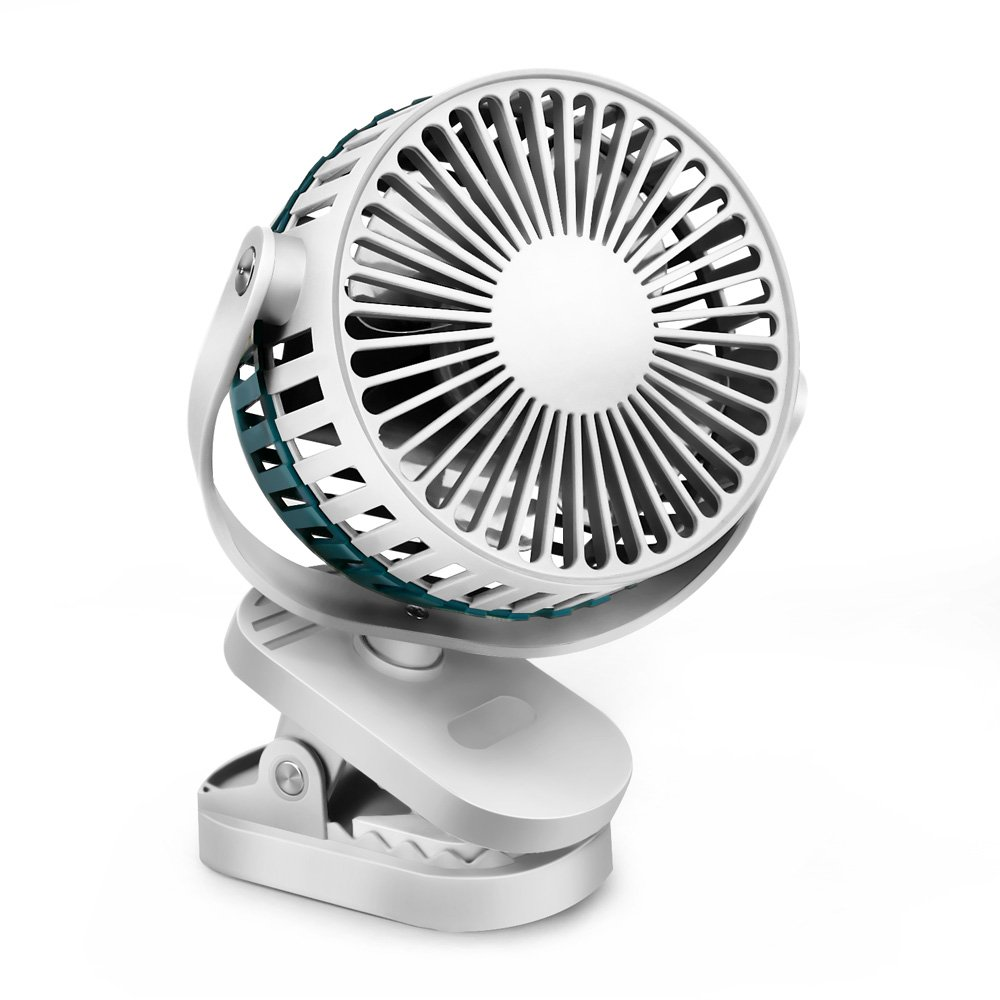 Clip on Fan, VersionTech Mini Portable Desk Fan with USB Rechargeable Battery Operated & 360° Flip Rotate Adjustment Wind Speed for Traveling Dormitory Office Car Hiking Household Fishing Camping Blue 4335397704