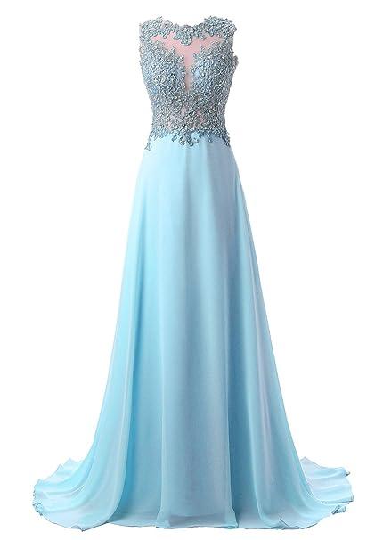 Callmelady Vestidos de Fiesta Largos de Noche Elegantes Encaje Vestido de Coctel Mujer (Azul,
