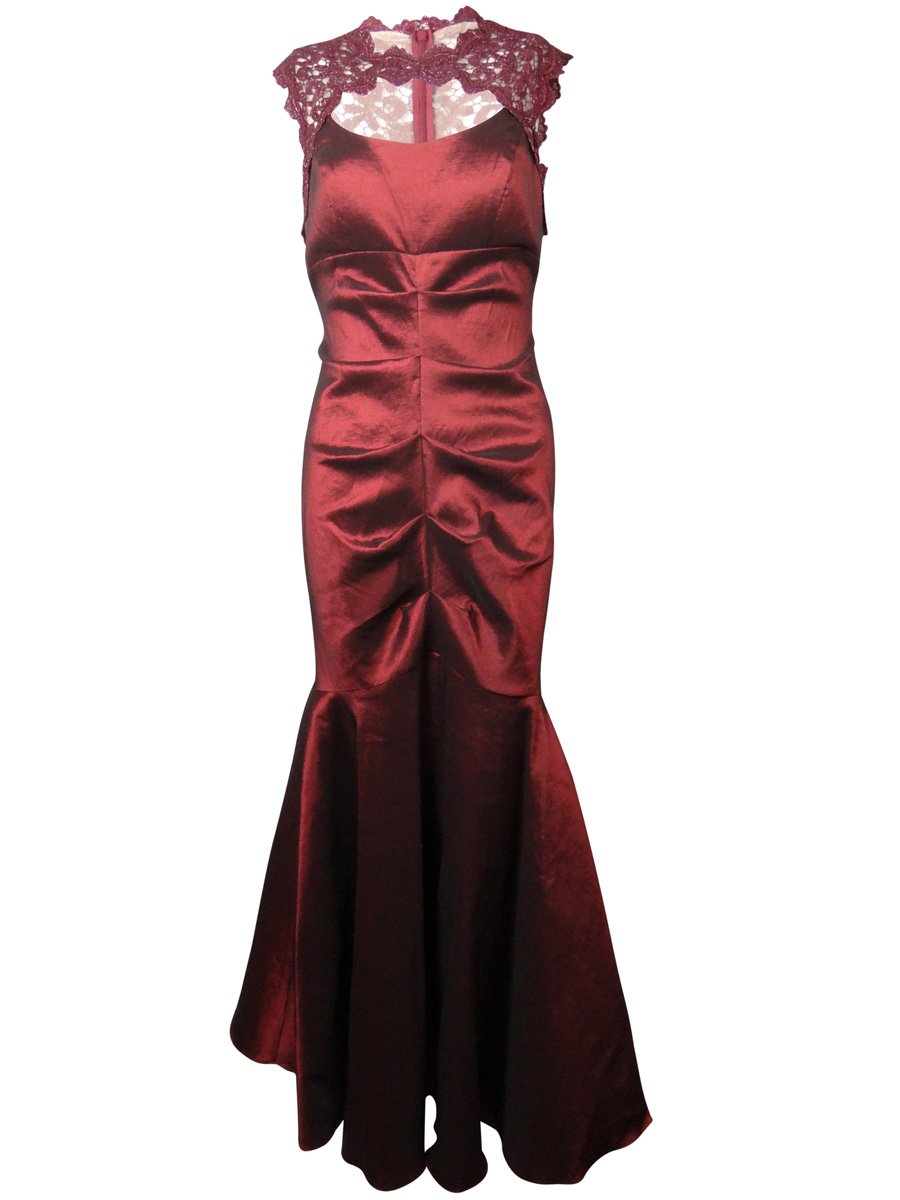 Xscape Women's Metallic Lace Trimmed Taffeta Mermaid Dress (14P, Garnet) by Xscape