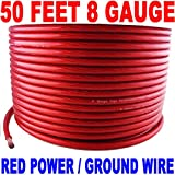 8 GAUGE AWG RED WIRE 50 FT POWERGROUND FAST USA!