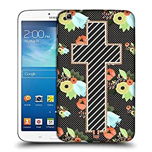 Head Case Designs Stitched Floral Cross Collection Hard Back Case Cover for Samsung Galaxy Tab 3 8.0 T311 T315 T310
