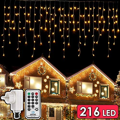 216 LEDs Tenda Luminosa, 5.5M Luce Stringa Catene Luminose, 8 Modalità Luci cascata Strisce LED, Barriera Fotoelettrica Decorare Interni Esterni Finestra Patio Giardino Natale Halloween, Bianco Caldo