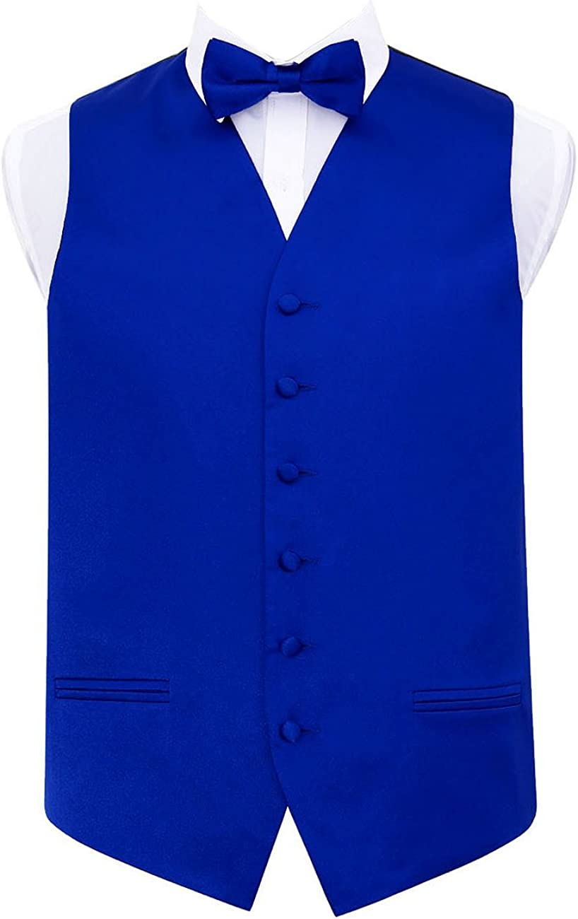 """Size 36/"""" Bow Tie Cravat Men/'s Baby Blue Swirl Wedding Waistcoat 50/"""" Tie"""