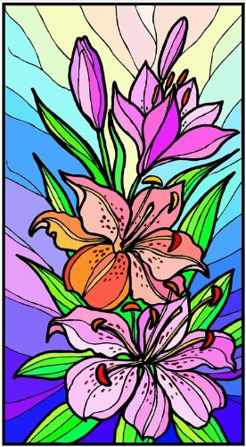 Purple & Orange Stargazer Lily Flowers - Etched Vinyl Stained Glass Film, Static Cling Window Decal
