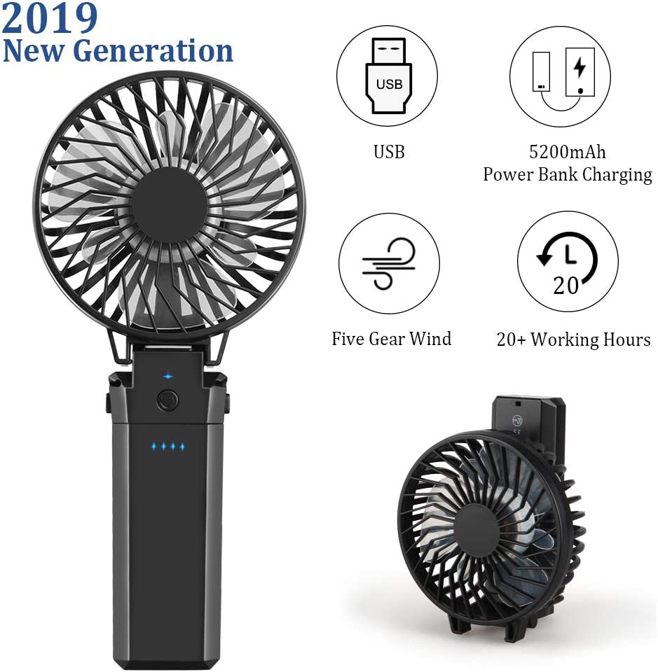 Kitclan 2019 New Handheld Battery Operated Fan with 5200mAh Power Bank, Portable USB Desk Fan in 8-20 Working Hours - Strong Wind on 5 Setting Fordable Design for Office,Traveling,Disney and Outdoors