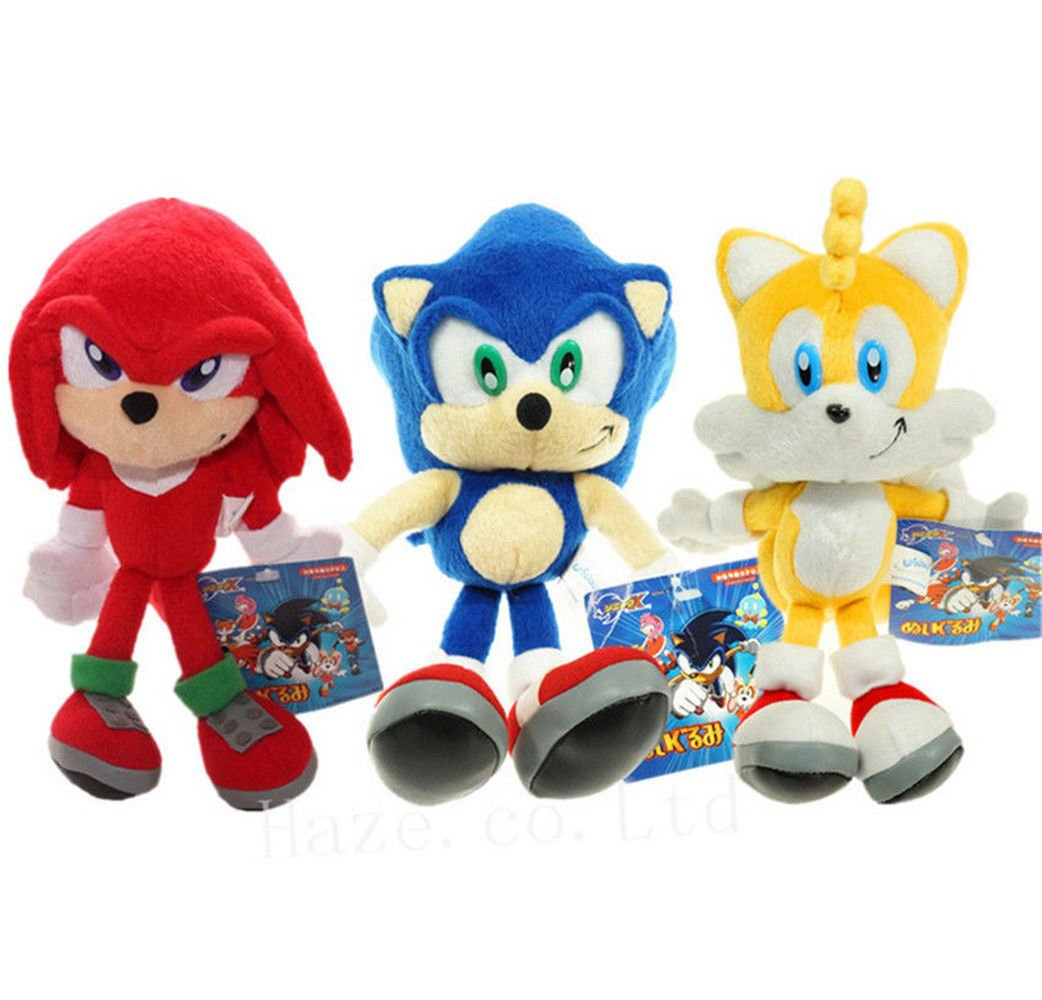 Set of 3 Sonic The Hedgehog Sonic Knuckles Tails Stuffed Plush Doll Toy 8 inch by Generic