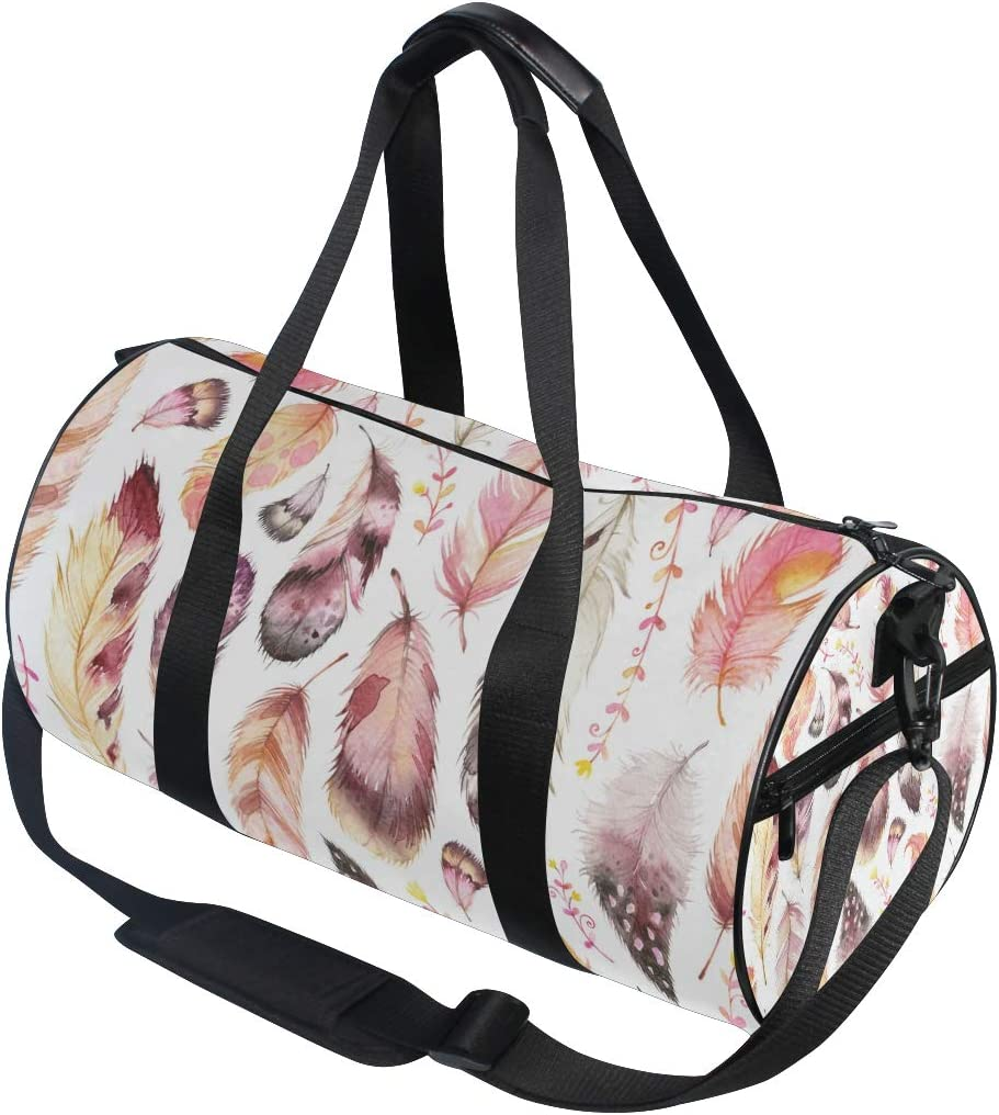 MALPLENA Birds Feather Drum gym duffel bag women Travel Bag