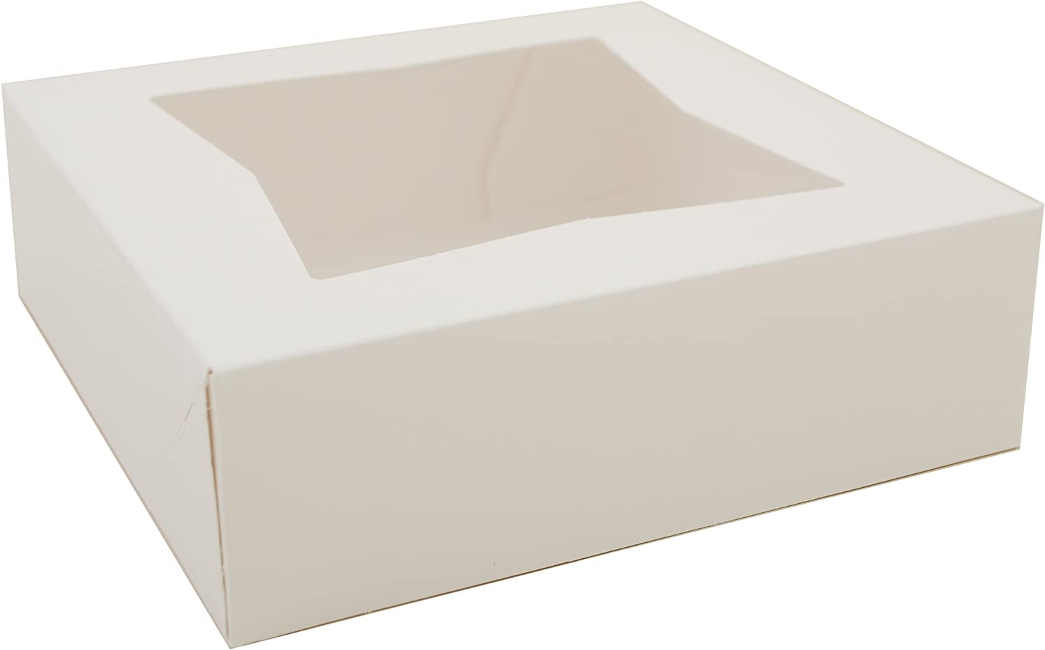 """Southern Champion Tray 24013 Paperboard White Window Bakery Box, 8"""" Length x 8"""" Width x 2-1/2"""" Height (Case of 200)"""