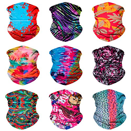 Sojourner 9PCS Seamless Bandanas Face Mask Headband Scarf Headwrap Neckwarmer & More – 12-in-1 Multifunctional for Music Festivals, Raves, Riding, Outdoors (9PCS EDM Series 1)