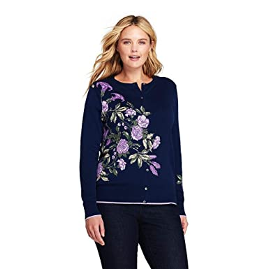 deba81bde99 Lands' End Women's Plus Size Supima Cotton Cardigan Sweater, 1X, Deep Sea  Placed Floral at Amazon Women's Clothing store: