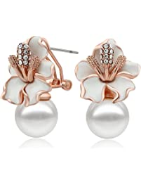 Kemstone Crystal Rose Gold Plated Snake Earrings Cream Simulated Pearl Dangle Earrings for Women by Kemstone