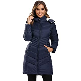 Caistre Women's Thickened Hooded Maxi Down Jacket Outwear Puffer Down Coats Navy M