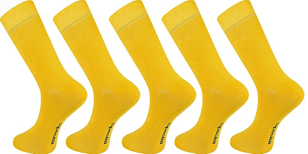 MySocks - Calze - Basic - Uomo Giallo Plain Yellow unica MP008a