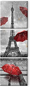 Canvas Wall Art Paris Eiffel Tower Red Umbrella Wall Art Prints Black White Wooden Framed Canvas Oil Painting for Living Room Bedroom Bathroom Kitchen Home Decor 12x12 Inch 3 Panels