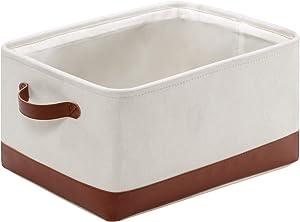 Large Fabric Storage Bin for Shelves, Decorative Basket Rectangular Fabric Storage Bin Organizer Basket with Handles, Canvas Floor Storage Basket for Home Office Organizing, Linen Closet Organizer