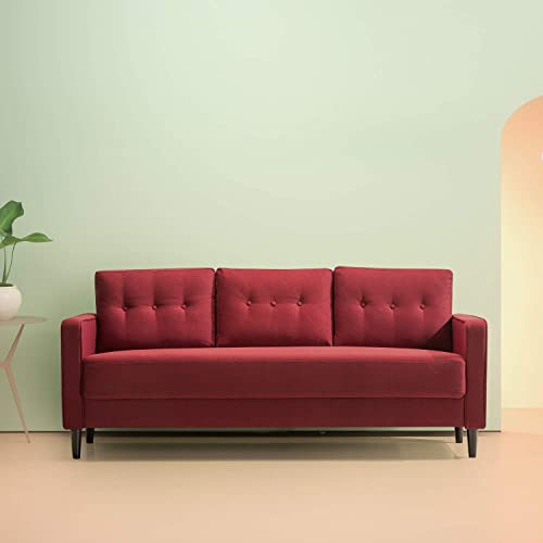 Zinus Mikhail Mid-Century Sofa Couch / Ruby Red Sofa / Button Tufted Cushions / Easy