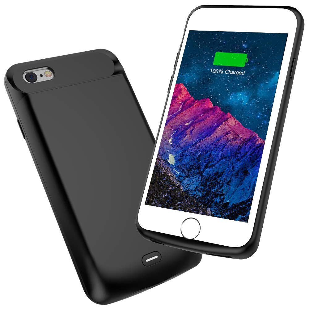 Battery Case Compatible with iPhone 6s/6, Highwings 5200mAh Slim Portable Rechargeable Charger Case, Protective Battery Pack Case Extended Charging Case Compatible iPhone 6s/6(4.7-inch)-Black