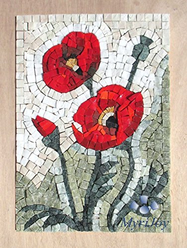 "MOSAIC ART KIT DIY WILDFLOWERS POPPIES 9""x12.5"" - Birthday/Wedding/Anniversary gift ideas - Mosaic wall art - Feng Shui success - Creative hobbies - Craft kits for adults from MyriJoy"