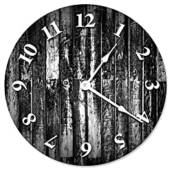 Large 10.5 Wall Clock Decorative Round Wall Clock Home Decor Novelty Clock BLACK AND WHITE WOOD