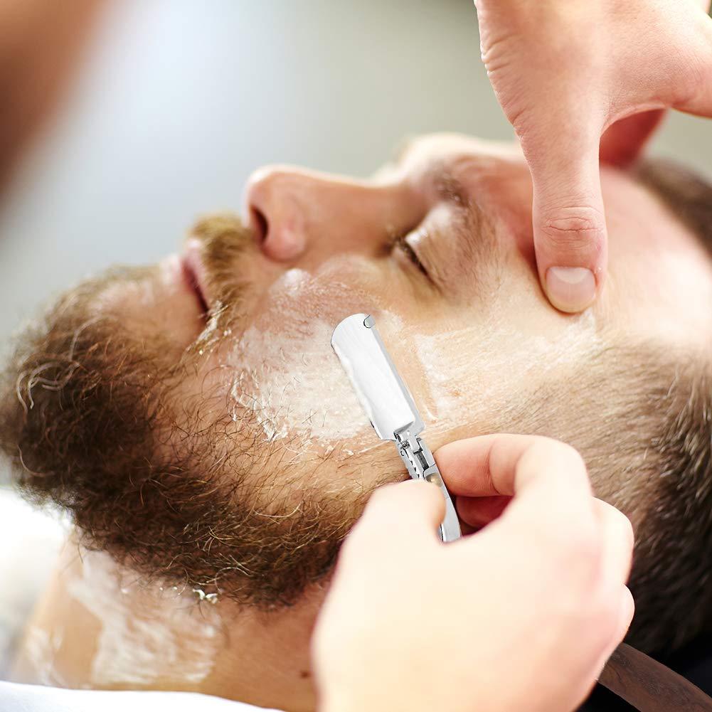 Wskderliner Präzises Premium-Rasiermesser + Hochwertige PU-Ledertasche + Wechselklingen(10pcs) Shaving Artist Handgefertigtes Rasiermesser mit Weinroter Holzgriff