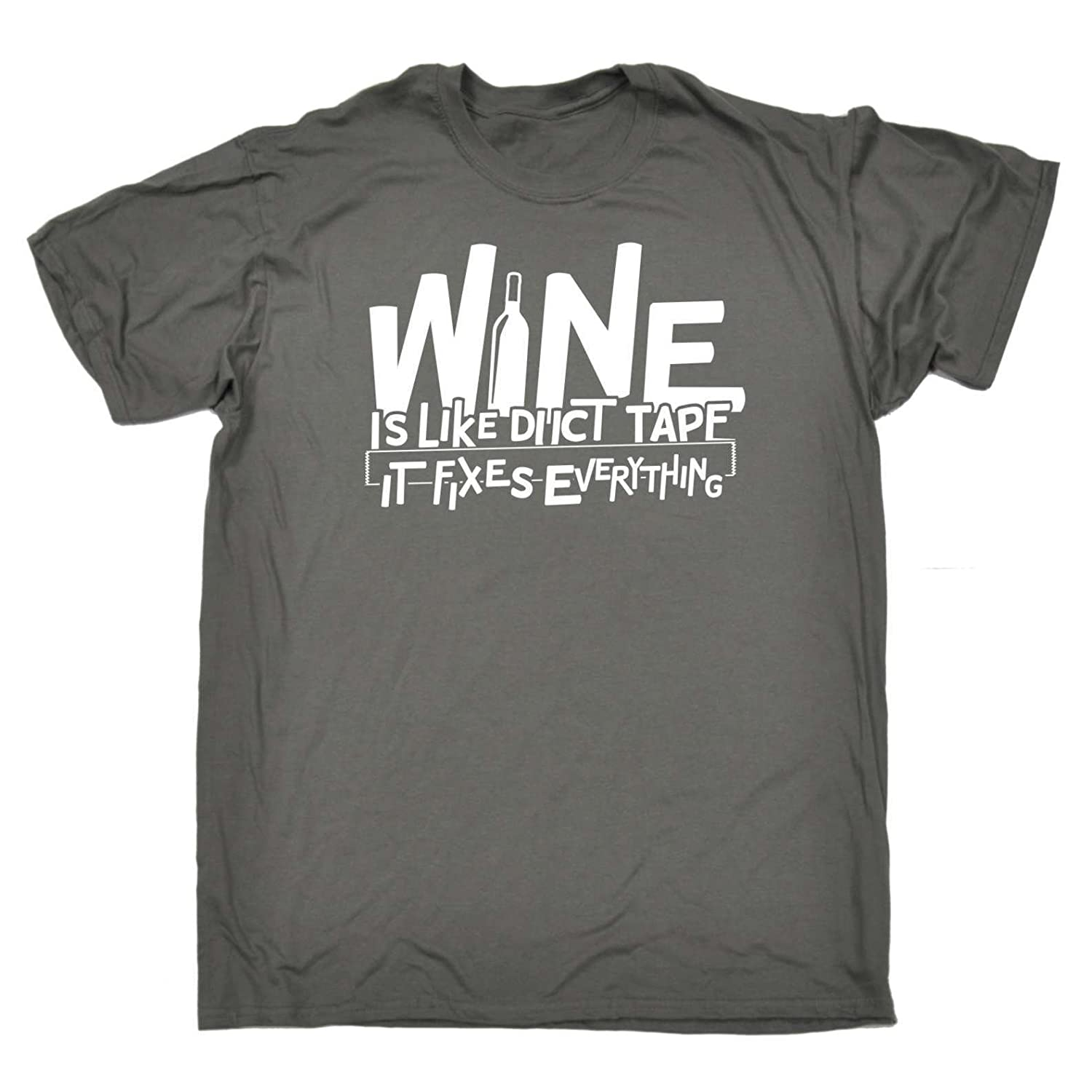 de7c952f 123t Funny T-Shirts - Men's Wine is Like Duct Tape It Fixes Everything  Gaffer - Novelty Slogan Christmas Birthday Gift Present t-Shirt Clothing  for him Tee ...