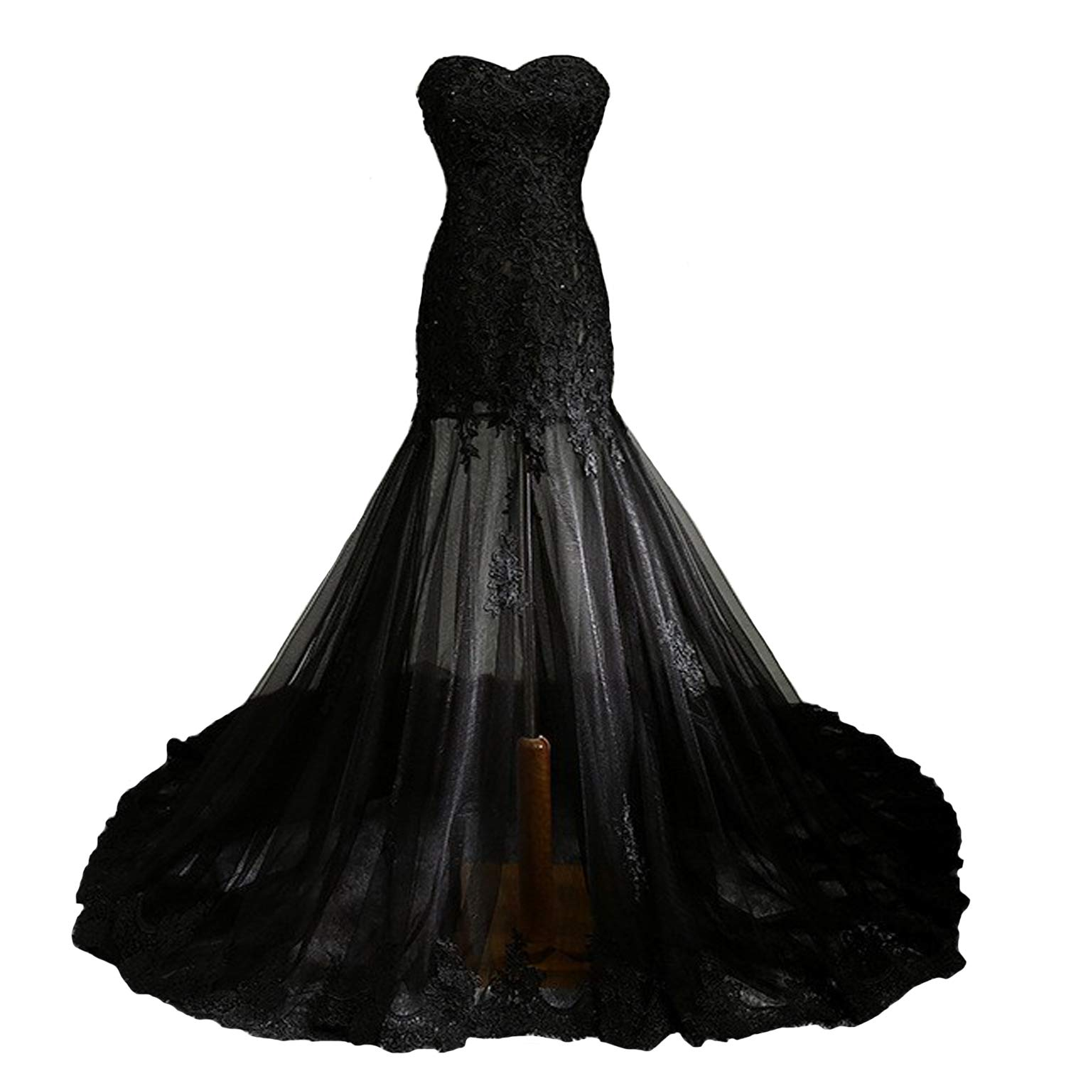 5844a163e29 Fair Lady Gothic Vintage Mermaid Prom Dress Long Beaded Lace Black Wedding  Dress Party Gown at Amazon Women s Clothing store