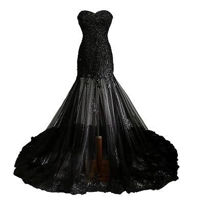 9038480302 Fair Lady Gothic Vintage Mermaid Prom Dress Long Beaded Lace Black ...