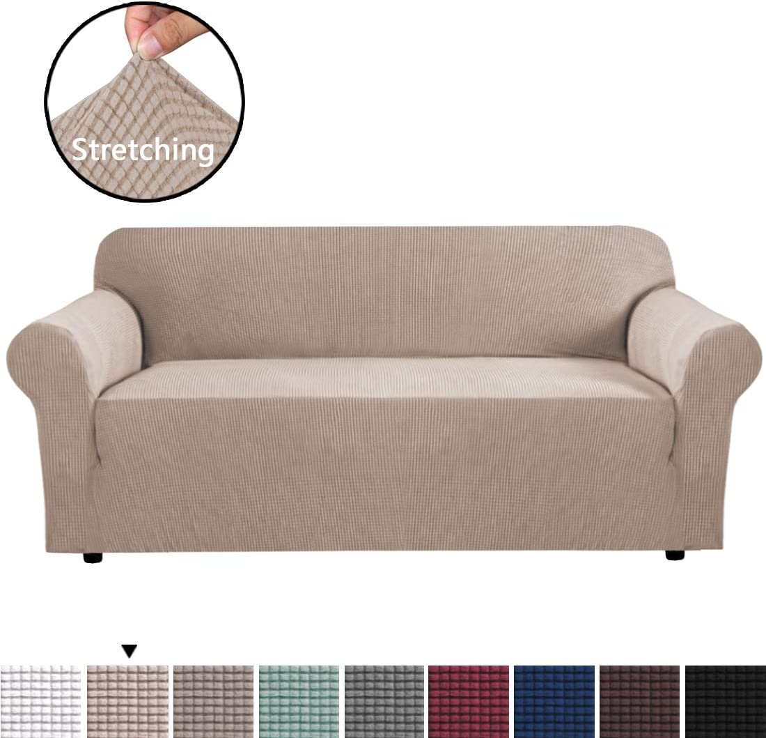H.VERSAILTEX 1-Piece Skid Resistance Sofa Cover Extra Large Size for 4 Seater Furniture Cover Jacquard Spandex Couch Covers, Fitted Stretch Knitted Jacquard Sofa Slipcovers - Sand, X-Large (4 Seater)