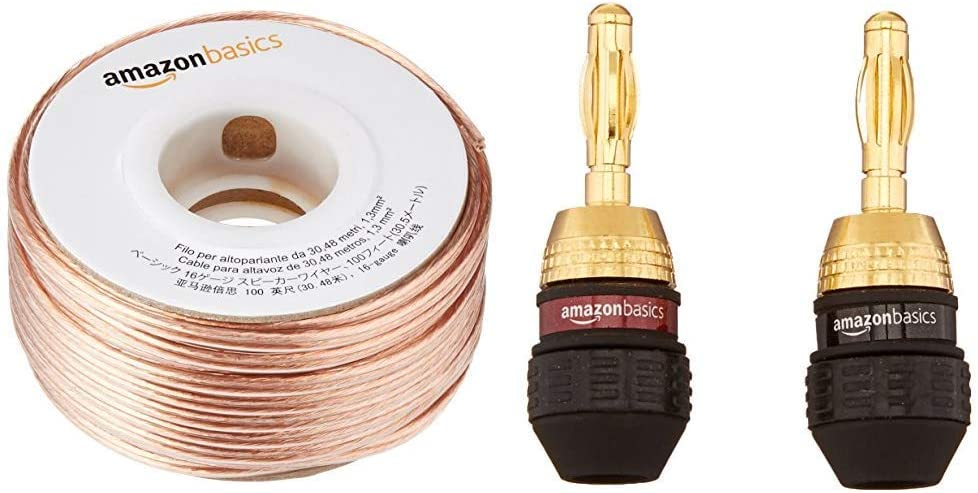 Basics 100ft 16-Gauge Audio Stereo Speaker Wire Cable, 100 Feet: Home Audio & Theater