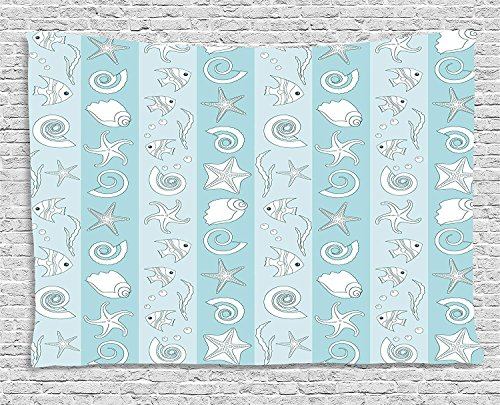 XHFITCLtd Nautical Tapestry, Marine Theme Sea Animals Fishes Shells on Striped Blue Background, Wall Hanging for Bedroom Living Room Dorm, 60 W X 40 L Inches, Baby Blue Light Blue White by XHFITCLtd