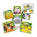 Adorox 24 Pack Zoo Animal Cardboard Treat Box Children Birthday Party Goody Bags Treat Boxes (Assorted (24 Animal Boxes)