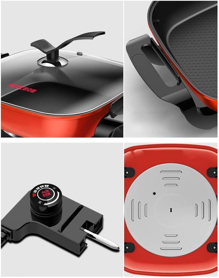 LXYZ Cuiseur à Riz Multifonctions Plaque Fer intégrée Sauter Barbecue coréen 2-4 Personnes Marmite Poêle Riz Frit Électrique Red