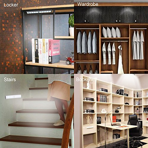 Stick-On Anywhere Portable Closet Lights Wireless 20 Led Under Cabinet Lighting Motion Sensor Activated Build In Rechargeable Battery Magnetic Little Safe Night Tap Light for Closet Cabinet (Silver) by RXWLKJ (Image #3)