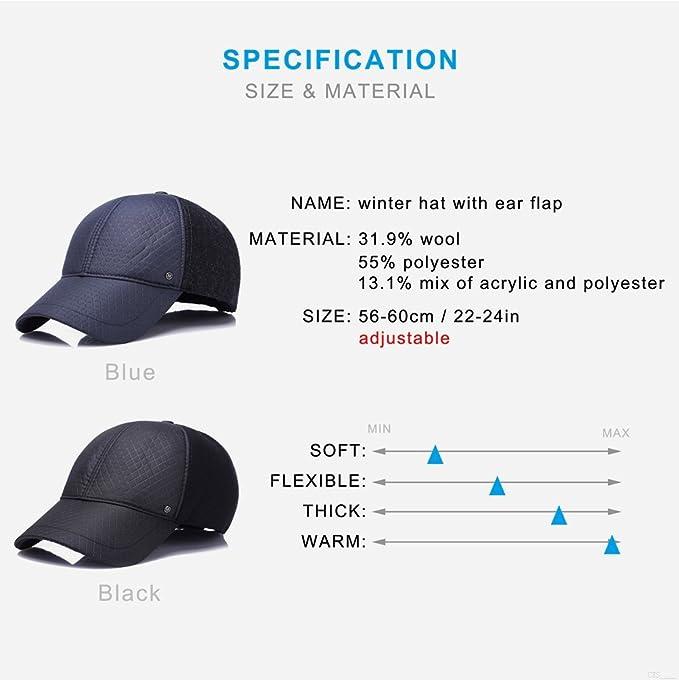 GADIEMKENSD Ear Flap Baseball Cap,Winter Hat for Men Adjustable Sporting Goods Hats LS36