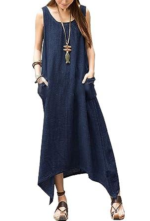 cbc42588468 Minetom Robe Maxi Longue Femme Grande Taille Ample Style Boho Manches 3 4  Bleu Foncé