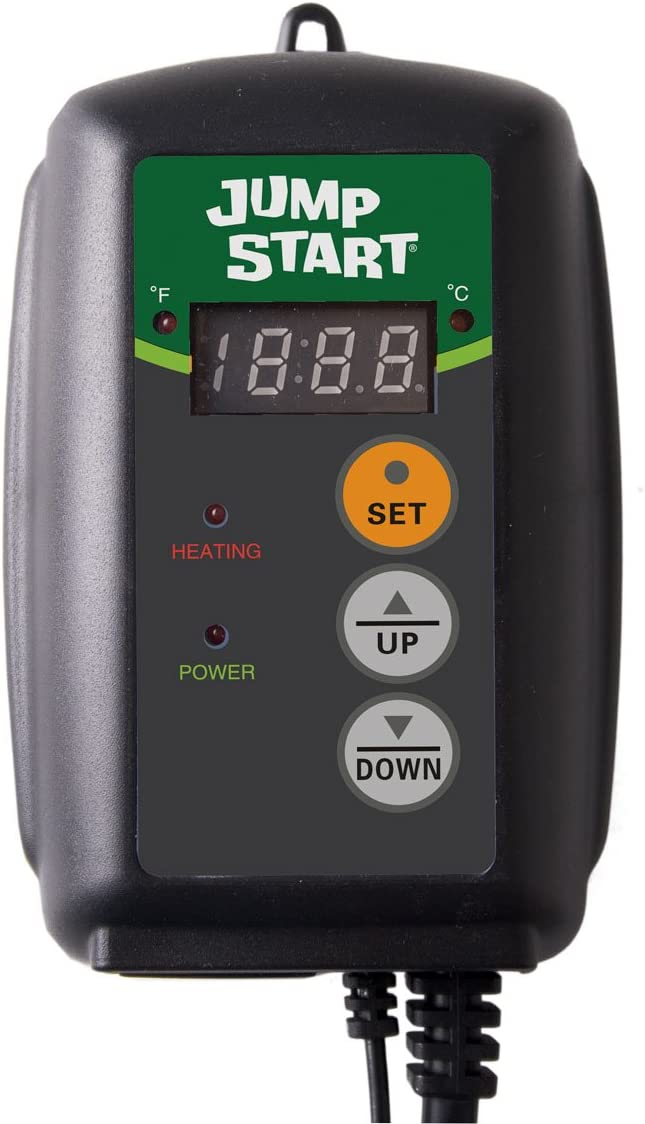 Hydrofarm Jump Start MTPRTC Digital Controller Germination Heat Mat Thermostat, 9-by-19-1 2-Inch
