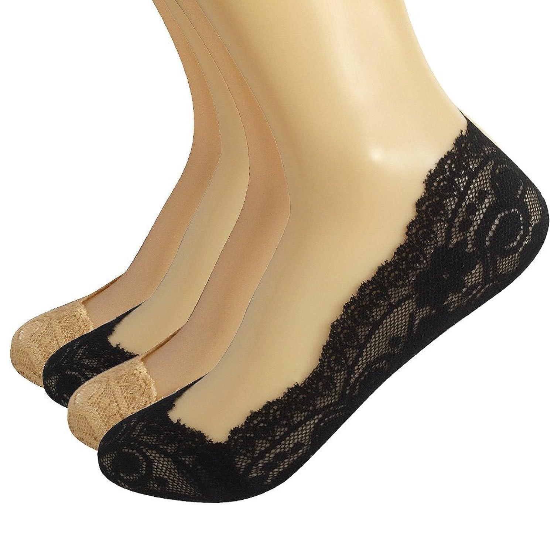 Ambielly Frauen Leichte Silikon Heel Grip Non-Skid Spitze Socken (4 Paare / Set)