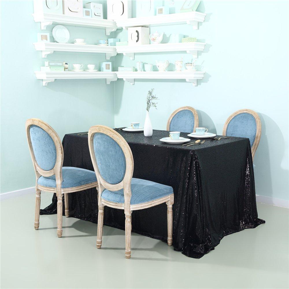 Zdada 90''x156'' Black Rectangular Sequin Tablecloth Sparkly Sequin Tablecloth for Wedding