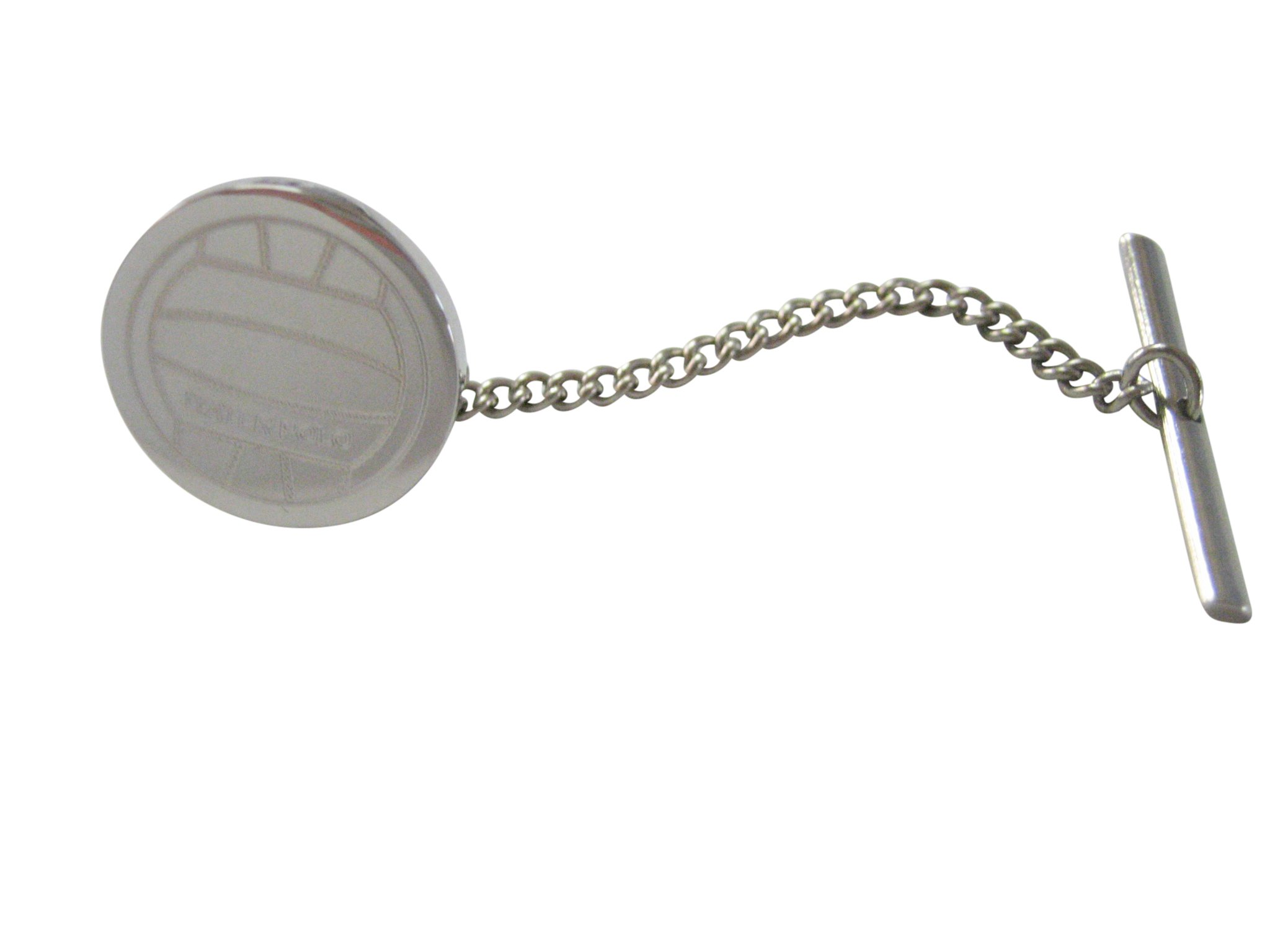 Silver Toned Etched Round Water Polo Ball Tie Tack