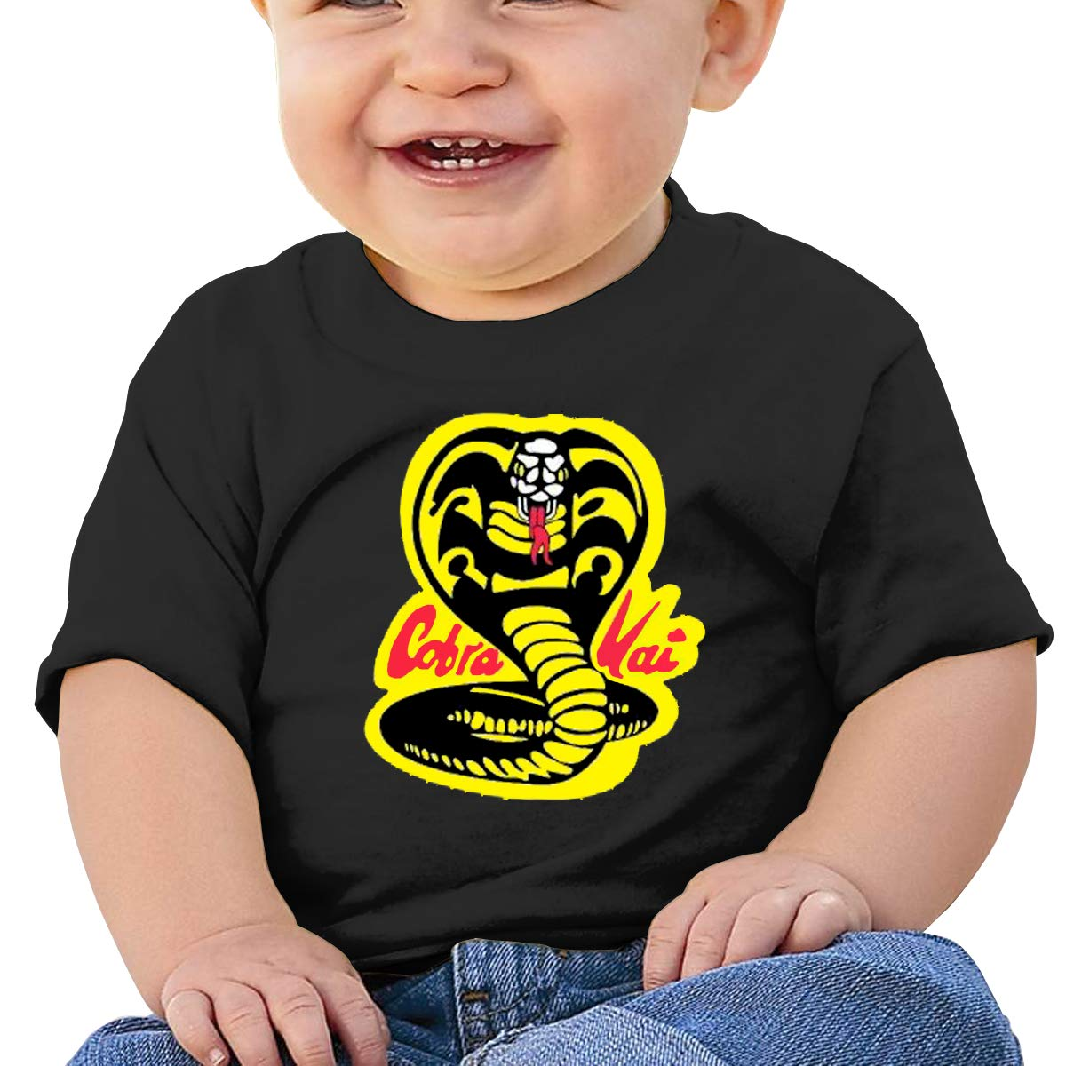 MONIKAL Unisex Infant Short Sleeve T-Shirt Cobra-Kai-Denim-Dad Toddler Kids Organic Cotton Graphic Tee Tops