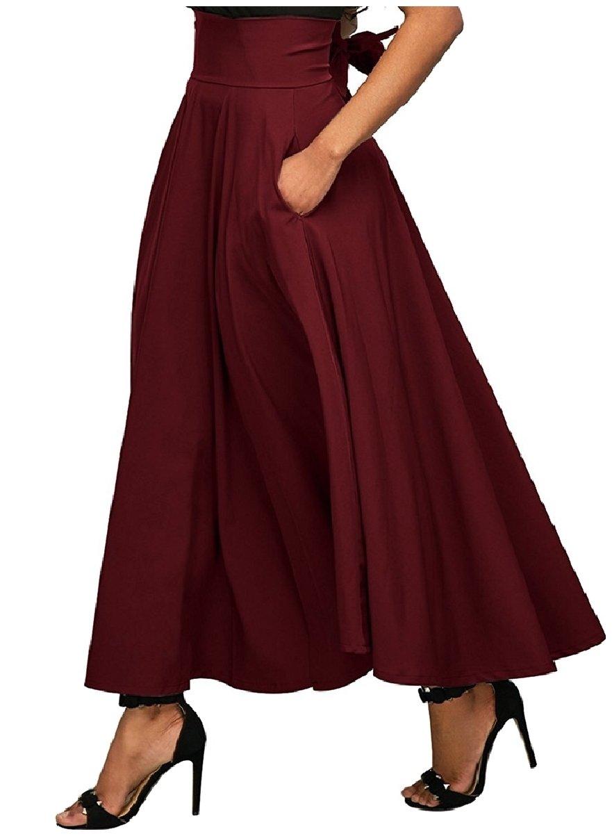 Coolred-Women Pockets Collection Big Hem Split Fine Cotton Bow Skirt Wine Red L