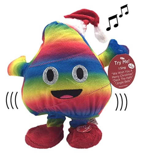 d2a5e71b341ad Amazon.com  Plush Holiday Animated Rainbow Poop Emoji with Santa Hat Dancing  and Singing to We Wish You a Merry Christmas