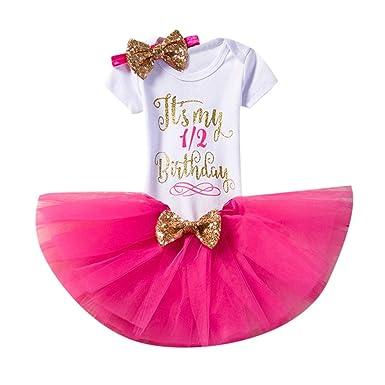 4fb160f3b Lostcall Baby Girl 1st Birthday 4PCS Cake Outfit Romper Tutu Dress Headband Toddler  Princess Clothes Costume