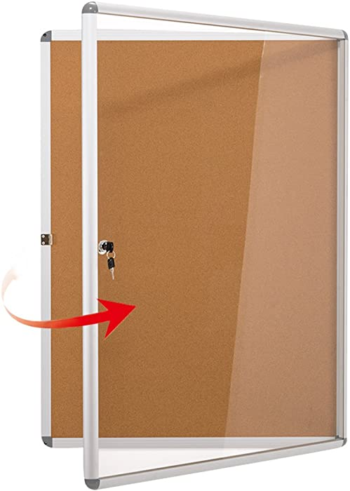 "Swansea Enclosed Bulletin Board,Lockable Cork Noticeboard for School Office,Wall Display Case with Lock 20""x16""(2xA4)"