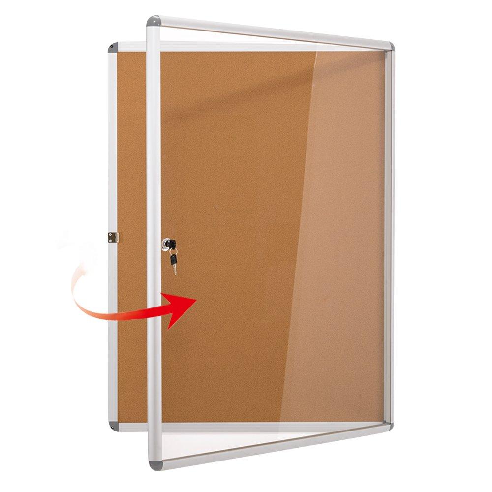 Swansea Lockable Noticeboard Blue Fabric Bulletin Boards Cabinet for Office School 38'x 28' (9xA4) LENAN