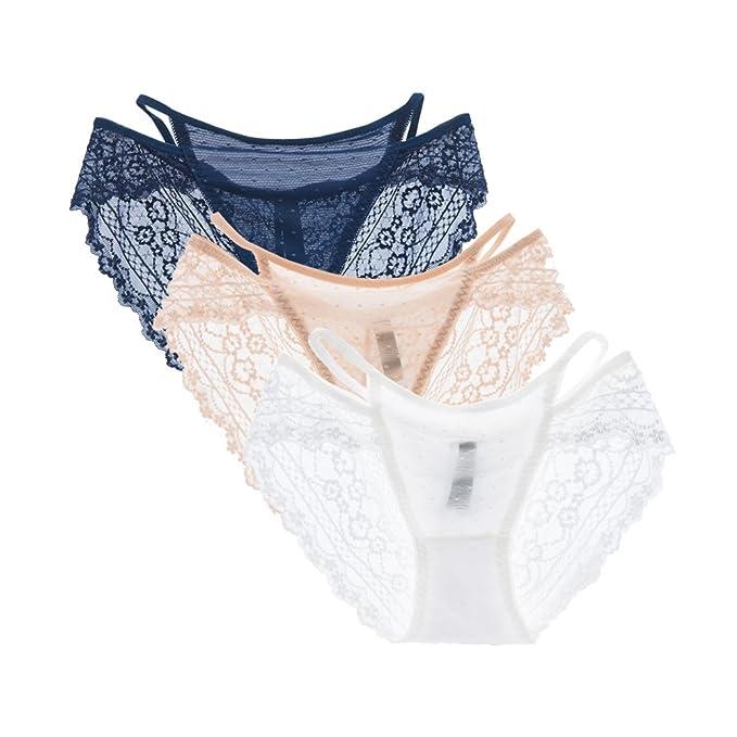 SHEKINI Women's Underwear 3 Pack Sexy Lace Breathable Coverage Bikini Pantie
