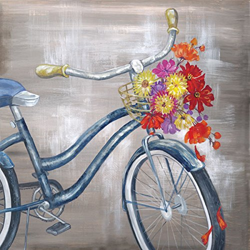 Vintage, Old Fashioned Bicycle with Basket Full Of Flowers; One 12x12in Paper Poster (Old Fashioned Bicycle)