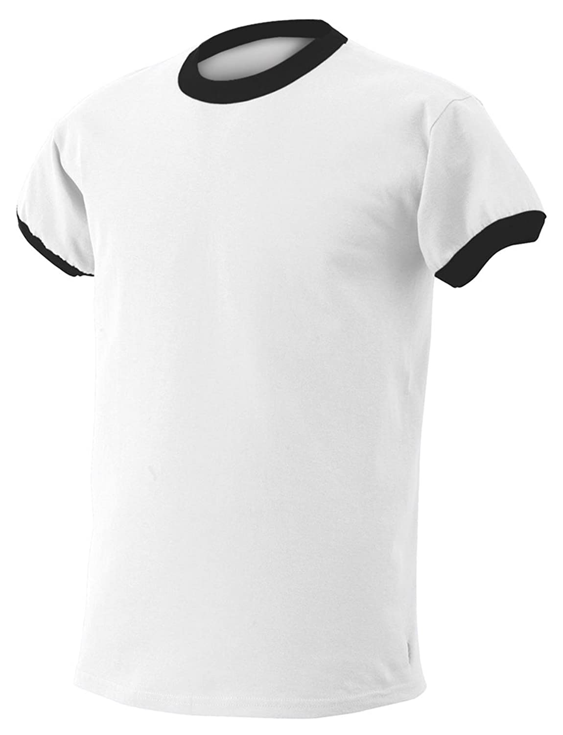 Gildan 6.1 oz. Ultra Cotton Ringer T-Shirt, White/Black, XX-Large